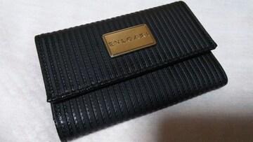 正規美 ブルガリ ミレリゲ ロゴ文字プレートメタル6連PVCレザーキーケース 黒 ブラック