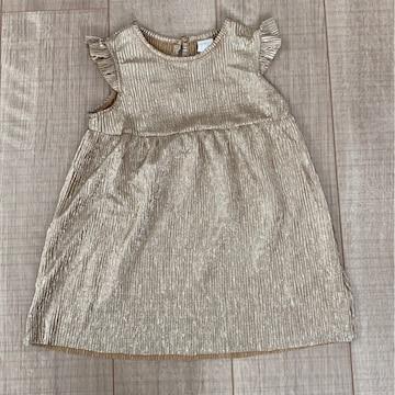 H&M女の子ノースリワンピースおめかしゴールド美品