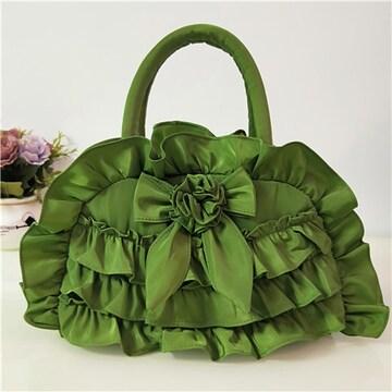 新品フリル&リボンナイロン生地トートバッグ緑グリーンレディースバッグ
