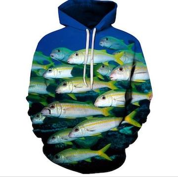新作!南洋の魚群!速乾!かっこいい!パーカーLサイズ新品