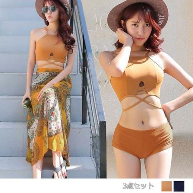 リゾート水着 レディース マキシ丈スカート 3点セット タンキニ 体形カバー セパレートタイプ  < 女性ファッションの