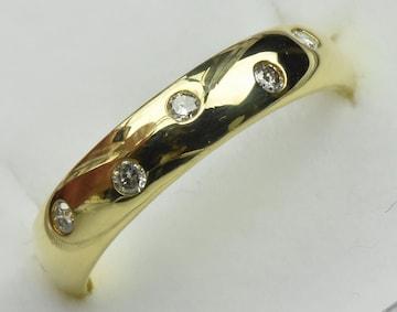 K18 ゴールド 0.09ct ダイヤモンドリング 7号 指輪