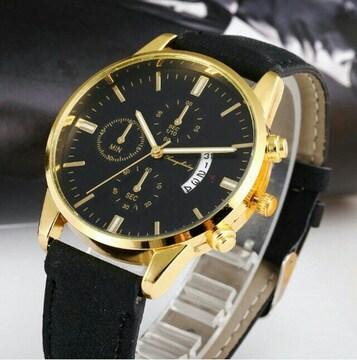 新品 デュアルタイプ 腕時計メンズ ラグジュアリーゴールド