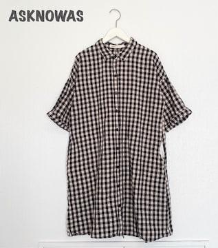 【ASKNOWAS】チェックシャツワンピース アズノウアズ