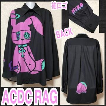 【新品/ACDC RAG】バニードールズプリントBIGシャツ/ネロ