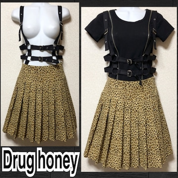 【新品/Drug honey】ハーネス付レオパ柄プリーツスカート