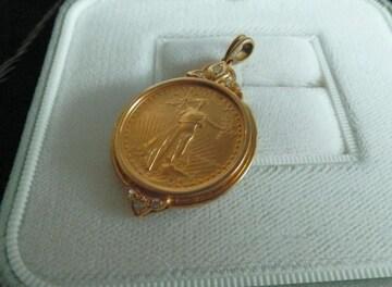 ■■必見■■1/4oz.FINE GOLD ダイヤ計0.09ct付の枠入りヘッド