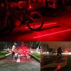 【送料無料】防水 自転車LEDテールランプ(5LED+2レーザー)レッド◆テールライト