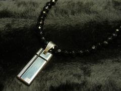 ブラッククロスプレート×ダイヤカットオニキス数珠ネックレス!オラオラ系アイテム
