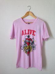 エドハーディー 男女兼用! ピンク タイガープリント Tシャツ L