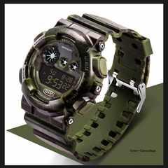 送料無料/SANDAカモフラデジタル腕時計ミリタリー日本語説明/緑