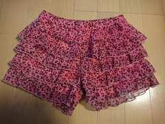 ショートパンツ/ショーパン/ピンク豹柄短パンひょう柄スカート風フリルズボンサイズ130�p