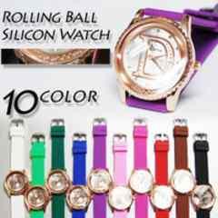 【送料込】コロコロボールの文字盤Dロゴラメ 男女兼用腕時計