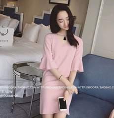 XL ワンピース ピンク ベルスリーブ ストレッチ 今期 韓国 新品