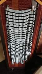 美品Forever21グレーボーダーフィッシュテールマキシスカート