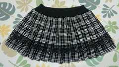 白黒チェックプリーツスカート*Lサイズ*ウエストゴムです
