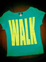 #ANAP GIRL#XS130-140 薄手Tシャツ 前後プリントwalkway