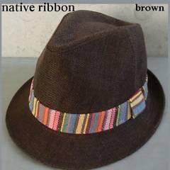 麻素材 ストローハット 中折れハット ネイティブ柄帯 人気帽子