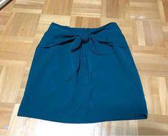 美品 ローリーズファーム リボン付きスカート 深緑 F