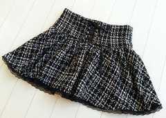 【美品/即決】リボン編み上げ♪ツィードミニフレアスカート★チェック柄♪ブラック☆M