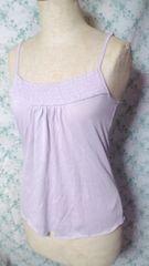 新品薄紫綺麗な色胸元シャーリングバストアップAラインキャミ[M]