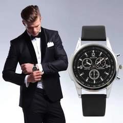 腕時計 メンズ クォーツ腕時計 ゴムベルト ウォッチ ブラック
