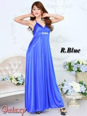 6096★クリスタルストーン付き上品ストレッチサテンロングキャバドレス*ブルー