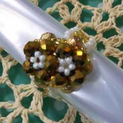 『手作り』硝子&メタルビーズで作成!12号位ドーム指輪