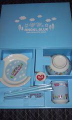 未使用☆エンジェルブルーANGEL BLUE/食器セット☆お茶碗箸お皿☆