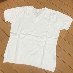 新品◆半袖Vネックニット◆Lホワイト◆綿ニット