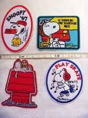 SNOOPY/70年代風/刺繍ワッペン4点セット/裏のり付き