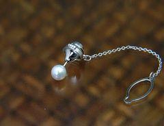 【誕生石6月】K14WG 7mm本真珠タイタック