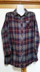 ♪未使用品♪a.g.plus♪グレーパープル系チェックシャツ♪暖かい