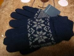 ジョルジュレッシュニット手袋ウール100紺雪結晶