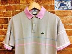 表記M/USA製!70's ビンテージ ラコステ 半袖 ポロシャツ 古着 アイゾッド 灰色