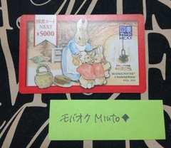 図書カードNEXT5000円分ピーターラビット◆モバペイ印紙切手歓迎