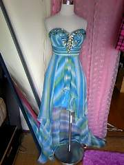 高級liplineビジュ&ビーズ盛ハイロウなグラデのシフォンミニinドレス