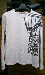 和柄・レトロ バックプリント 長袖Tシャツ ロンT Sサイズ・細身 白色×黒色 カットソー