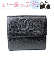 極美品 シャネル 2つ折り財布 キャビアスキン 黒 v287