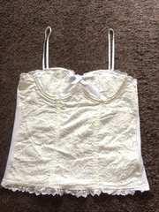 rosebullet白レースフラワービスチェキャミソールベア2WAY刺繍