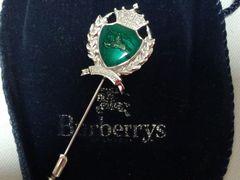正規未 激レア BURBERRY バーバリー 騎士 ホースロゴ 緑×銀 王冠ピンブローチ