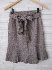 即決/裾フレアラメウールリボンスカート/ブラウン/ウエスト61-87