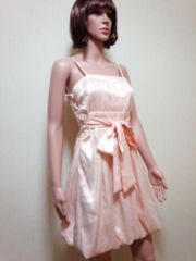 キャバ…光沢プリーツ&紐リボンのバルーンドレス☆3点で即落☆