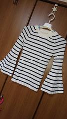 プルオーバー/セーター*袖フレア*白×紺/ボーダー*F