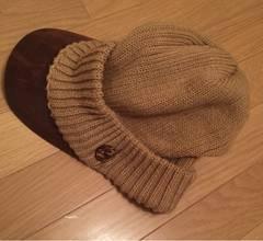 ツバ付ニット帽 キャスケット帽 ブラウン系 男女兼用