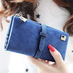 【ブルー】レディース 長財布 スウェード調 大容量 カラー多数