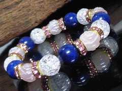ラピスラズリ薔薇彫りローズクォーツ§クラック水晶数珠