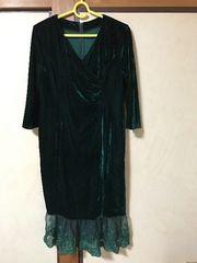 ダークグリーンのドレス 5月末まで送料400円