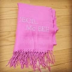 CECILMcBEEセシルマクビー 大判ストール 少し暖かみのあるピンク ロゴラインストーン