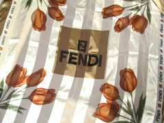 FENDIフェンディ超大判100サイズのシースルー極上ブランドロゴ.シルク100%スカーフ